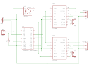 LS7366 Quadrature decoder shield schematic