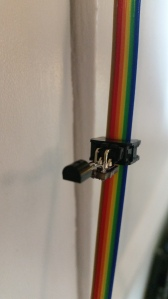 Example MAX31820 1-wire temperature sensors on small PCB attached to a ribbon cable