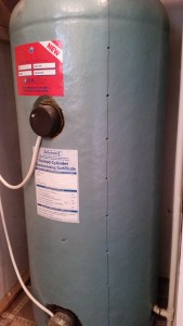 Hot water tank with holes for temperature sensors marked