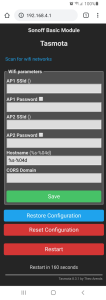 Screenshot of the configuration screen in Tasmota where you enter your WiFi details