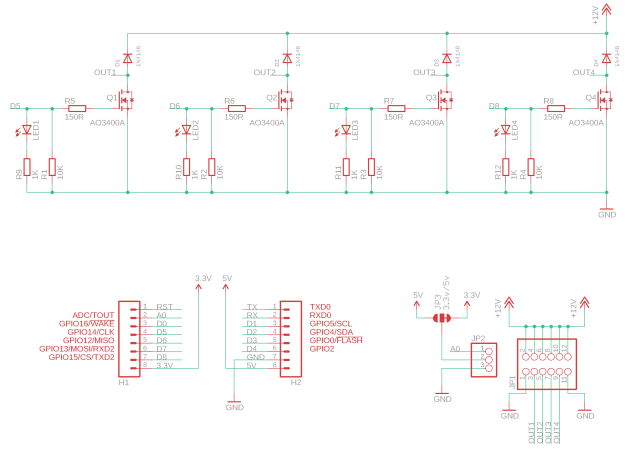 Wemos D1 Mini MOSFET Shield 4ch v1.3 Schematic