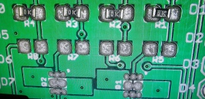MOSFET Shield for Wemos D1 mini close up of solder stencilling and component placement