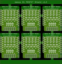 MOSFET Shield for Wemos D1 mini v1.3 Panel for Fabrication